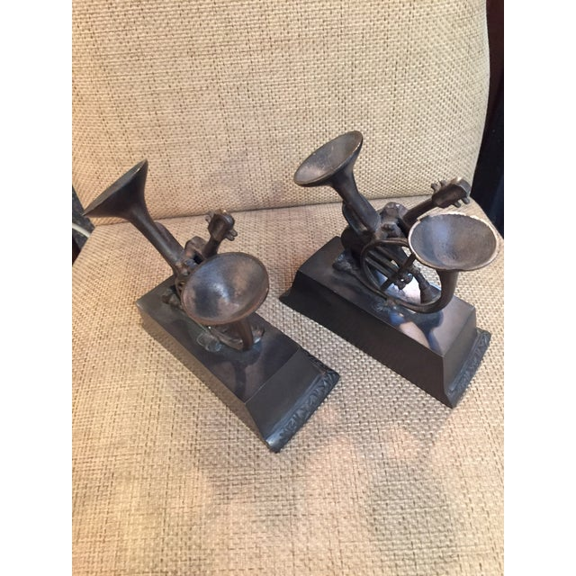 Patinated Brass Musical Bookends - A Pair - Image 2 of 3