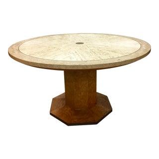 John Widdicomb Burl and Travertine Sunburst Table For Sale