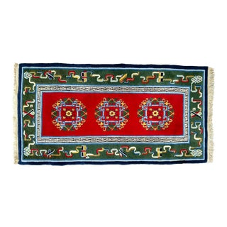 Hand-Knotted Wool, Vintage Asian Rug - 3′2″ × 6′4″ For Sale