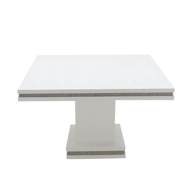 White Vintage Mid Century Square White Lacquer Cloth Finish Game Table For Sale - Image 8 of 8