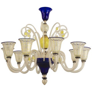 1940s Italian Venetian Murano Yellow and Blue Trimmed Glass Chandelier For Sale