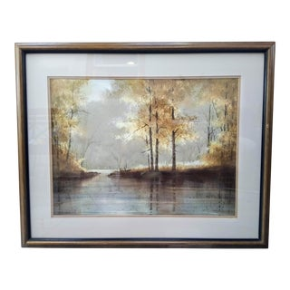 Framed T.C. Chiu Sunny Landscape Watercolor Painting For Sale