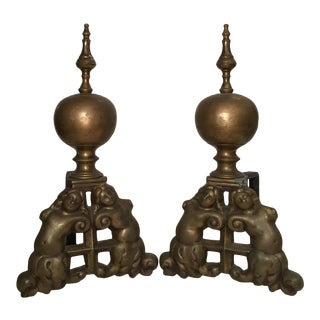 Bronze Angel Andirons / Chenets - a Pair For Sale