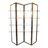 Image of Mid Century Modern Brass Etagere With Five Glass Shelves For Sale