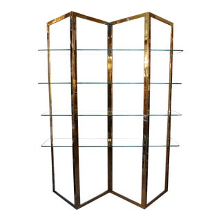 Mid Century Modern Brass Etagere With Five Glass Shelves For Sale