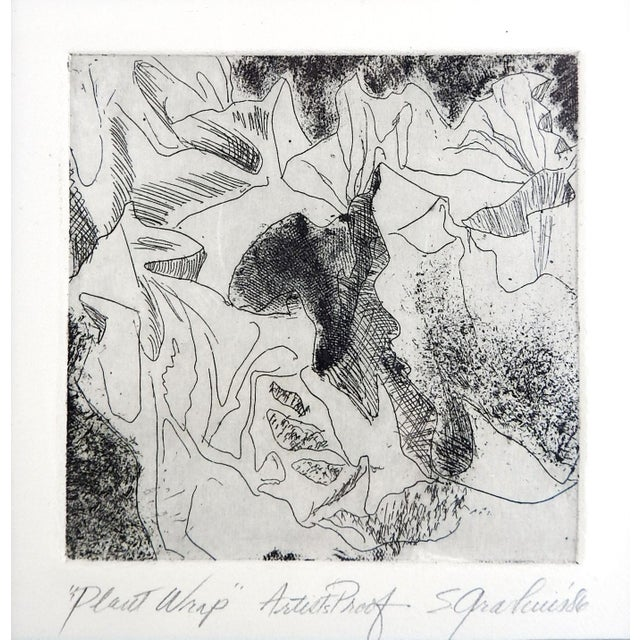 Abstract botanical etching by Sharron Grashuis. Signed, titled Plant Wrap, artist proof in pencil along lower margin....