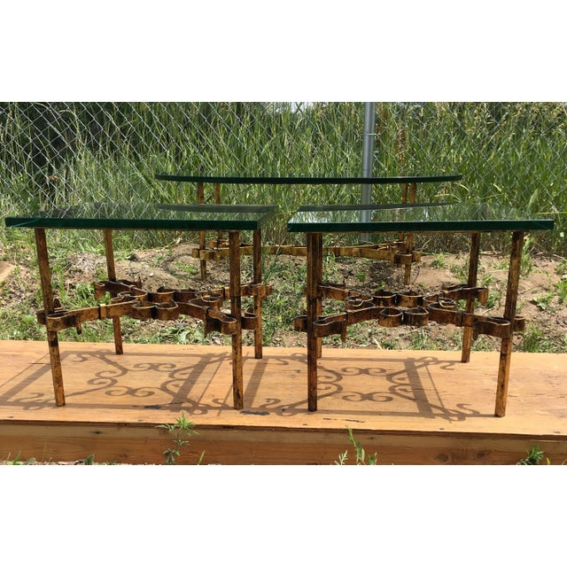1950s Brutalist Spanish Gilded Iron Glass Tables - 3 Pieces For Sale - Image 12 of 12