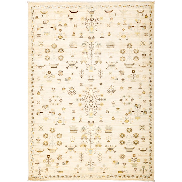 """Eclectic Hand Knotted Area Rug - 6' 1"""" X 8' 8"""" - Image 4 of 4"""