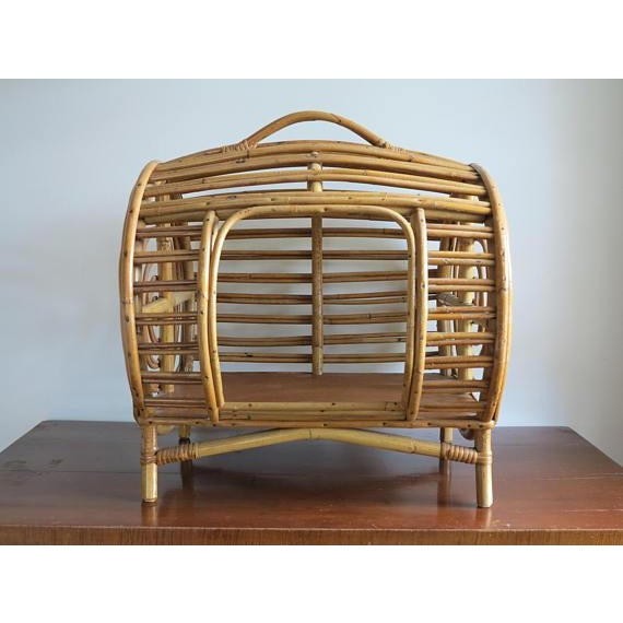 C.1930 Art Deco Abercrombie & Fitch Rattan Bamboo Pet Bed - Image 2 of 8