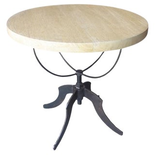 Set of Rustic Noir Wine Adjustable Side Tables For Sale