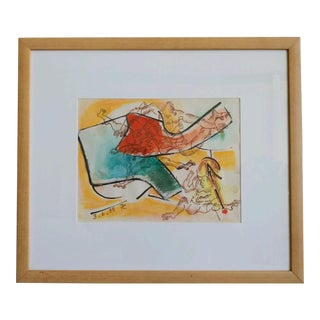 Signed Claire Faulkenstein Watercolor Collage For Sale
