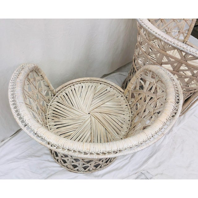 Pair Boho Chic White Wicker & Rattan Chairs For Sale - Image 12 of 13