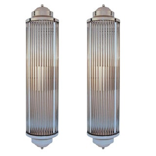 Art Deco Style Grand Theater Glass Rod Wall Sconces - a Pair For Sale