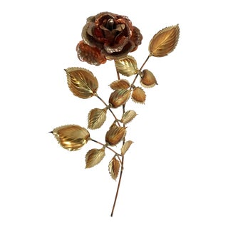 20th Century Brutalist Metal Rose Wall Hanging For Sale