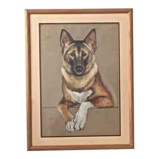 1960s Mid Century Charcoal and Pastel Framed Shepard Drawing For Sale