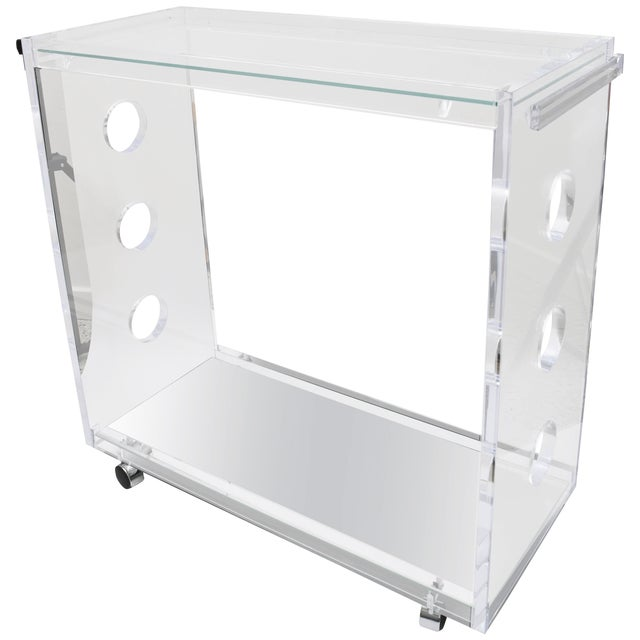 Showroom Sample - Custom Designed Lucite and Mirror Bar Cart by Alexander Millen For Sale