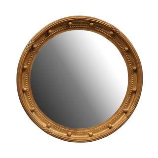 Girandole Bullseye Gilded Wood Circular Mirror With Antiqued Glass For Sale