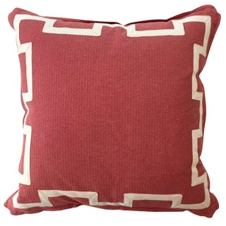 Coral & Ivory Fretwork Linen Pillow For Sale