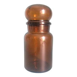 "Belgian Amber Glass 7"" Apothecary Jar For Sale"