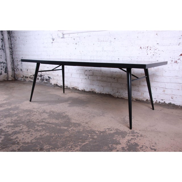 1950s 1950s Paul McCobb for Planner Group Ebonized Extension Dining Table & Chairs - Set of 6 For Sale - Image 5 of 13