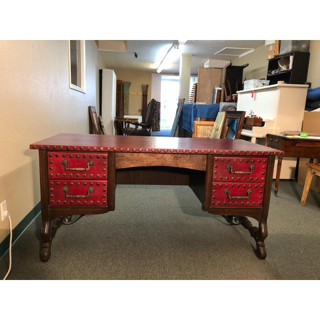 Design Plus Gallery presents a vintage Spanish Revival Desk for home or office. Custom built in 1966, the desk is red...