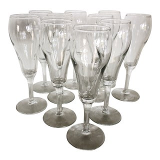 Set of 10 Small Vintage Tulip Style Champagne Glasses For Sale