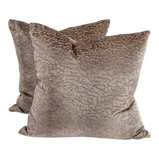 "22"" Opuzen Multivelvet Italian Pillows in Lagoon, Pair For Sale"