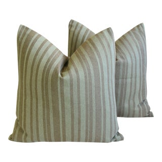 """French Green Striped Feather/Down Textile Pillows 24"""" Square - Pair For Sale"""