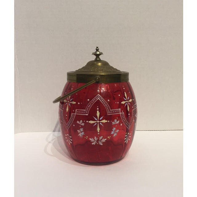 19th Century Biscuit Barrel Hand Enameled Cranberry Glass W/ Brass Lid & Handle For Sale In Atlanta - Image 6 of 11