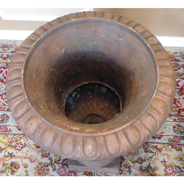 Rusted Cast Iron Garden Urns - A Pair - Image 6 of 6