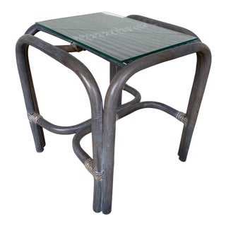 Rattan Side Table With Glass Top Grey Finish For Sale