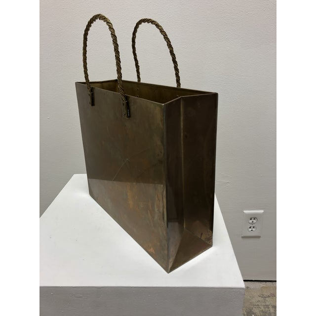 Vintage Brass Shopping Bag Magazine Rack For Sale In San Francisco - Image 6 of 8
