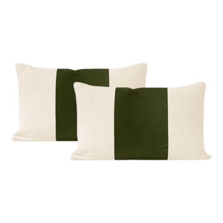 "12"" X 18"" Olive Italian Velvet Lumbar Pillows - a Pair For Sale"
