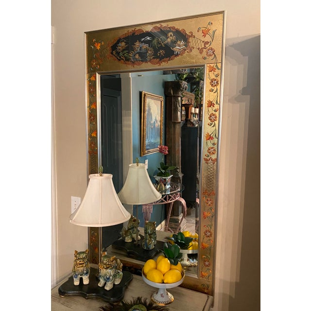 Large impressive Vintage LaBarge eglomise mirror. Eglomise is a term referring to the process of applying both a design...