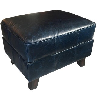 Dark Blue Leather Ottoman For Sale
