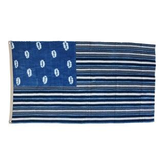 "Boho Chic Custom Blue & White African Textile Flag Throw 59"" X 34"" For Sale"