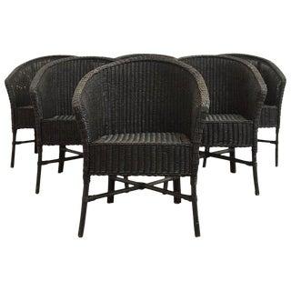 Set of Six Bamboo Wicker Barrel Back Chairs