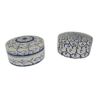 Vintage Blue & White Chinoiserie Boxes For Sale
