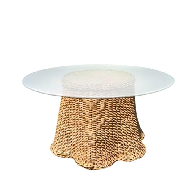 Boho Chic Round Wicker Bamboo Rattan Trompe l'Oeil Ghost or Draped Table in the Manner of Michael Taylor For Sale