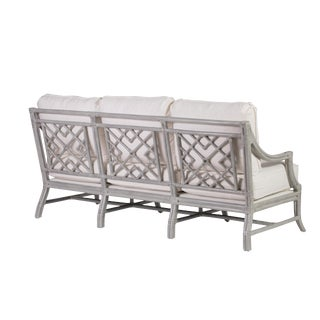 David Francis Mist Gray Rattan Sofa For Sale