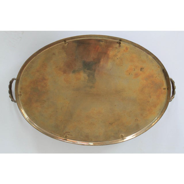 Mid 20th Century Faux Bamboo Brass Tray For Sale - Image 5 of 6