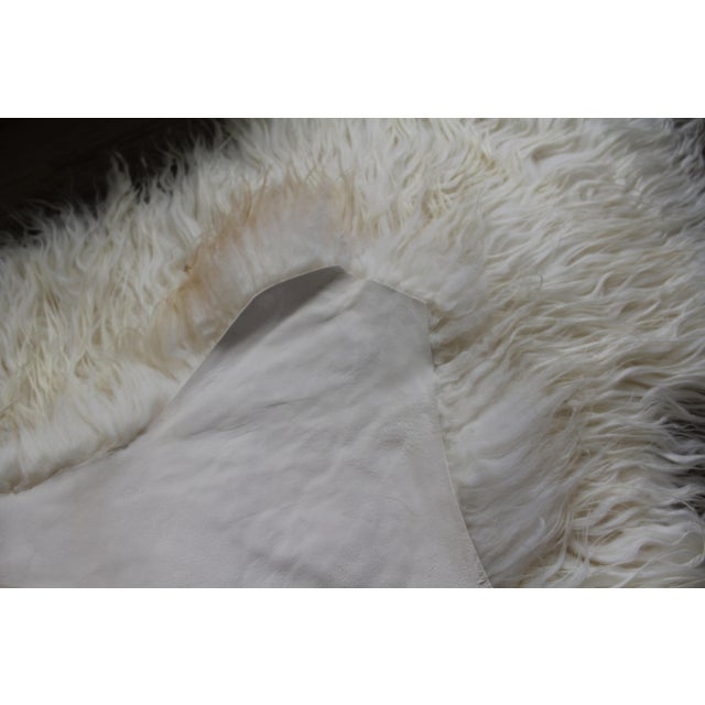 White Contemporary Icelandic Sheepskin Shade of White Rug Throw For Sale - Image 8 of 9