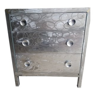 Simmons 3-Drawer Brushed Steel Dresser For Sale