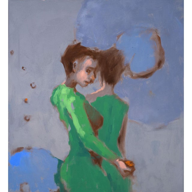 """Green Cherres Oil Painting """"Five Senses, Taste"""", Contemporary Colorful Figurative Work For Sale - Image 8 of 8"""