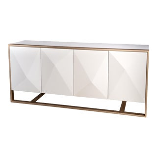 Cleo Spike Wood Cabinet in White For Sale