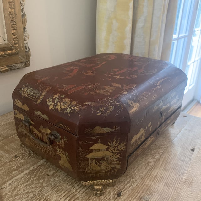 Antique Chinese Iron Red Lacquered Sewing Box on Feet With Drawer For Sale - Image 4 of 12