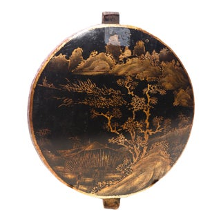 18th Century Antique Round Chinese Lacquered Temple Fragment For Sale