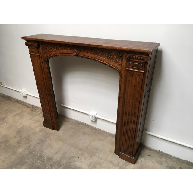 Antique Hand Carved Oak Fireplace Mantle For Sale - Image 11 of 11