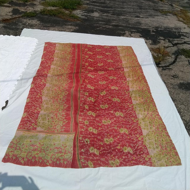 Shabby Chic Vintage Sari Fabric Textile For Sale - Image 3 of 6