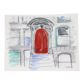 Brownstone Door Cityscape Painting by Cleo